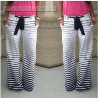 Drawstring Striped Wide Legs Casual Sport Pants