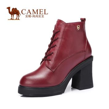 CAMEL women's leather boots Stylish and elegant cow leather shoes  fashion durable waterproof high heel boots for ladies