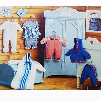 """VOGUE BABY DOLL Clothes Pattern 15"""" 16"""" Bitty Baby Doll Dress Bloomers Overalls Jacket Pants Hooded Bunting Vogue 9231 Craft Sewing Patterns"""