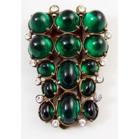 Huge Vintage Art Deco Emerald Diamante Glass Dress Clip