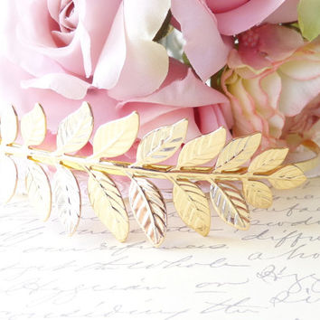 Gold Plated Laurel Leaf Headband - Golden Leaf Branch Headband - Bridal Headpiece - Woodland