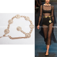New Designer Gold Coin Chain Link Belt Fashion Women Belt Runway Belt Fit XS S M Free Shipping