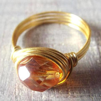 Orange Ring, Wire Wrapped Ring, Cute Ring, Prism Ring, Orange Bead Ring, Glass Jewelry, Easter Gift, Gift for Sister, Simple Ring, Sunset