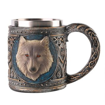 2017 Hot Sale Wolf Head Pattern Mug Coffee Milk Tea Cup Drinkware Vessel Universal Water Bottle For Birthday Christmas Gift