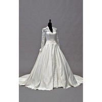 Ball Gown V-neck Chapel Train Taffeta Long Sleeves Wedding Dress  - Star Bridal Apparel