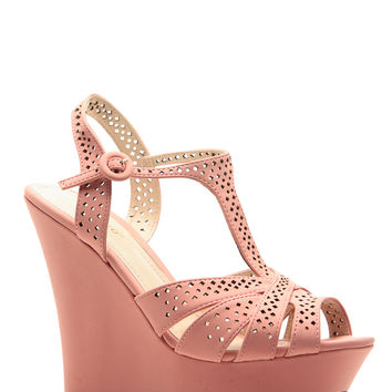 Melon Faux Nubuck Cross Strap Platform Wedges