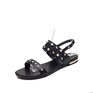 Genuine Leather Studded Flat Sandals for Women 1870