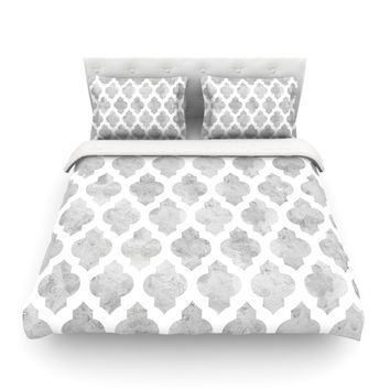 "Amanda Lane ""Gray Moroccan"" Grey White Featherweight Duvet Cover"
