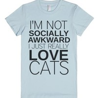 I Just Really Love Cats-Female Light Blue T-Shirt