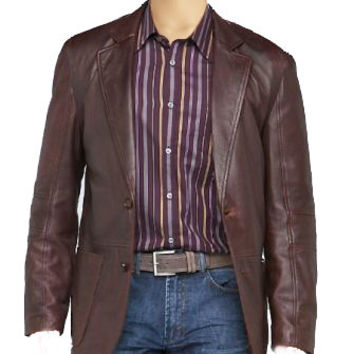 Brown (Two-Tone) leather blazer