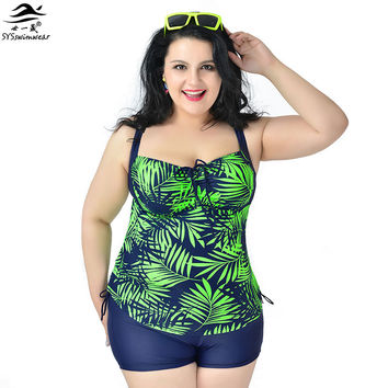 2XL - 6XL  Super Big size Women Tankinis Set Halter Plus size Swimwear Female Split Swimsuit Printing Two piece Bathing Suit