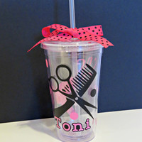 Personalized Hairdresser Tumblers Monogrammed Tumblers