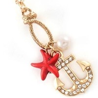 Nautical Starfish, Anchor Red Necklace