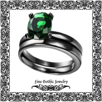 Gothic Wedding Rings | Black Wedding Ring | Classic 1.5Ct Oval Green Crystal Black Gold Filled Ring Set | Size 6 7 8 9 10 #155-g