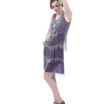 Purple & Silver Beaded Fringe Reproduction Flapper Dress - Unique Vintage - Prom dresses, retro dresses, retro swimsuits.