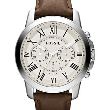 FOSSIL MENS CHRONOGRAPH GRANT BROWN LEATHER STRAP WATCH 44MM FS4735