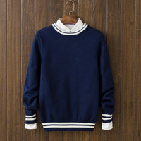 Casual Men's Solid Comfortable Round Collar Warm Sweater