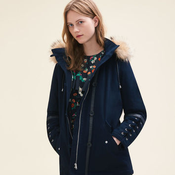 GOBY Cropped parka with laced detail
