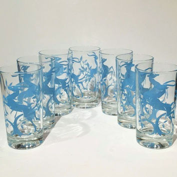 Set of 7 Hazel Atlas Blue Gazelle Tumblers, Blue Hazel Atlas Gazelle Tumblers, Hazel Atlas Blue Leaping Impala Glassware Set,