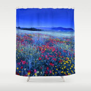 Spring poppies at blue hour Shower Curtain by Guido Montañés