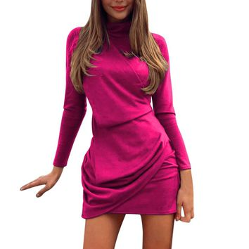 Bodycon suede dress Turtleneck ruched pink women dress Elegant elastic summer irregular hem short dress female vestidos