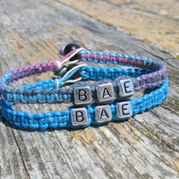 Turquoise and Purple Haze BAE Bracelets for Couples or Best Friends, Before Anyone Else, Handmade Hemp Jewelry