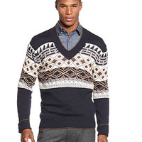Sean John Fair Isle Stripe V-Neck Sweater