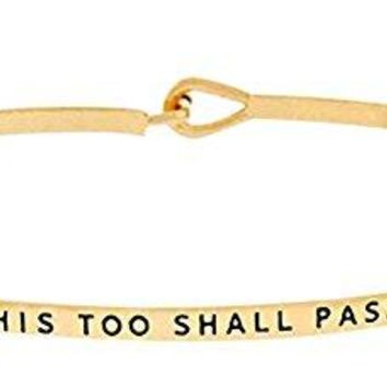 Inspirational quotTHIS TOO SHALL PASSquot Engraved Positive Mantra Message Thin Brass Bangle Hook Bracelet