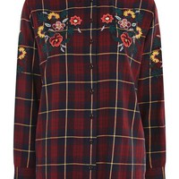 Floral Embroidered Checked Shirt - Shirts & Blouses - Clothing