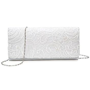 Kaever Womens Lace Floral Clutches Evening Bags Purse for Wedding Party Handbags