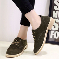 Fashion All-match Retro Solid Color Oxfords Shoes