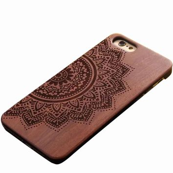 "Natural Carved Wood Wooden Hard Case Cover Protect ARTSY Design For iPhone 6/6s 4.7""  FREE SHIPPING USA ONLY"