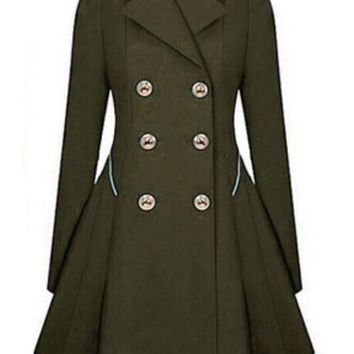 Army Green Plain Double Breasted Military Peplum Peacoat Tailored Collar Trench Coat