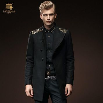 Free Shipping New male winter slim wool coat wool hoodless stand collar single breasted embroidered outerwear 0084 coat FanZhuan