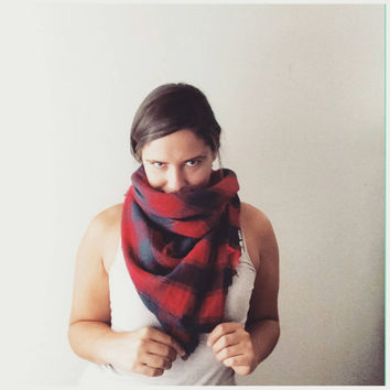 Plaid Blanket Scarf Red Plaid Scarf Blanket Shawl Poncho Cowl Handmade Cozy Flannel Lightweight