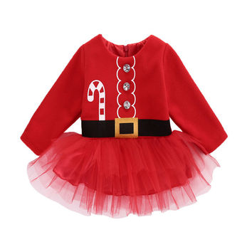 Cotton Casual Newborn Baby Girl Dress Christmas Santa Claus Tulle Dress Outfits Costume 0-2T