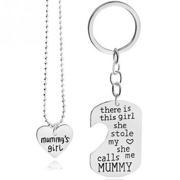Best Gift Heart Love There Is Girl She Stole My Heart She Call Me BAE/Grandma/Mommy/Grandpa/Gaddy/Nana Necklace Pendant Set
