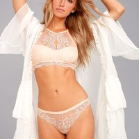 Love Lottery Peach Lace Bra and Panty Set