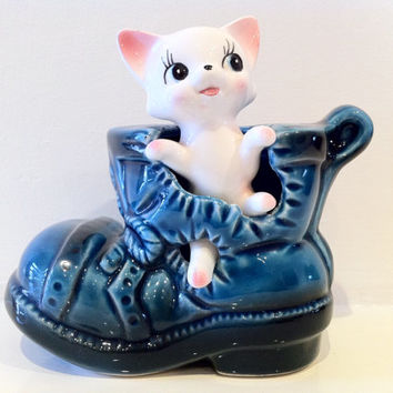 Vintage Kitsch Cute Cat Kitty Coin Bank Money Box