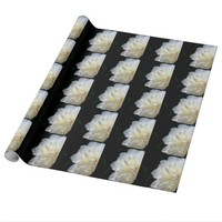 White Peony on Black Wrapping Paper