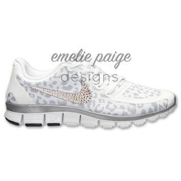 Nike Free 5.0 V4 (White/Silver Cheetah) running shoes with Swarovski Crystals