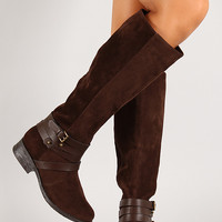 Bamboo Jagger-12 Suede Strappy Buckle Knee High Riding Boot