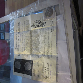 vintage coin from shipwreck nuestra senorade atocha from 1600's w/ certificate of authenticity