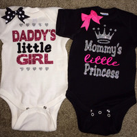 Girl Onesuits -  Body Suit - Glitter  - Onesuit - Ruffles with Love - Baby Clothing - RWL - Mommy's Little Princess - Daddy's Little Girl