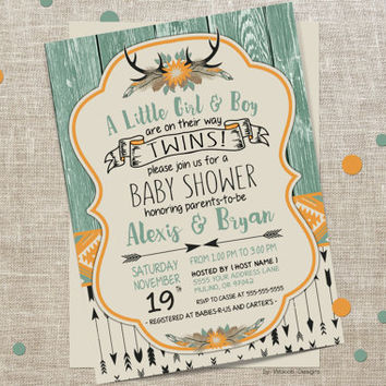 Twins Baby Shower Invitation, Twins Baby Shower, Twins Shower Invitation, Boho Baby Shower Invitation, Boho Twins Baby Shower Invitation