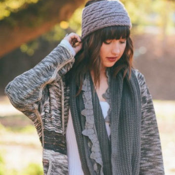 Gray Knit Headwrap