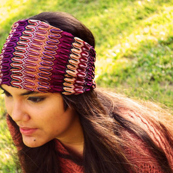 Turban Headband Lace Headwrap Aztec Nomad Tribal Print Zig Zag Purple Yoga Workout Twisted Ear Warmer Band