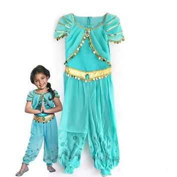 VONE05O KTLPARTY halloween party cosplay kid children girl princess jasmine costume Aladdin's lamp clothes clothing