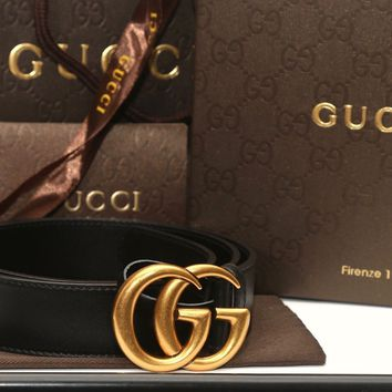 TOP CONDINTION + BOX GUCCI BLACK LEATHER BELT WITH DOUBLE G BUCKLE SZ 80