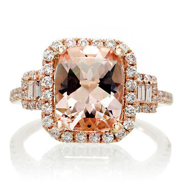 18K Rose Gold 10x8 Cushion Cut Diamond Halo Three Stone Morganite Engagement Ring Bridal Alternative Wedding Anniversary Jewelry Ring